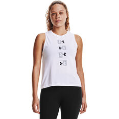 Under Armour Womens UA Repeat Muscle Tank, White, rebel_hi-res
