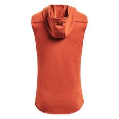 Under Armour Project Rock Mens Sleeveless Terry Iron Hoodie Orange XS, Orange, rebel_hi-res