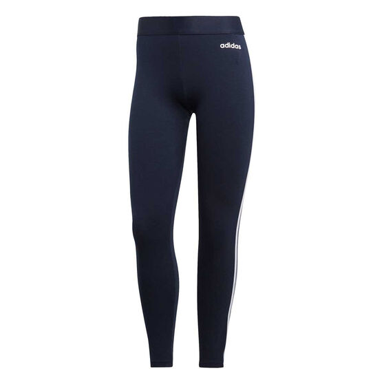 adidas Womens Essentials 3 Stripes Tights, Navy / White, rebel_hi-res