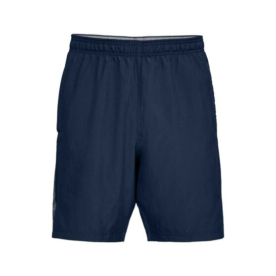 Under Armour Mens Wordmark Woven Training Shorts, Navy / Grey, rebel_hi-res
