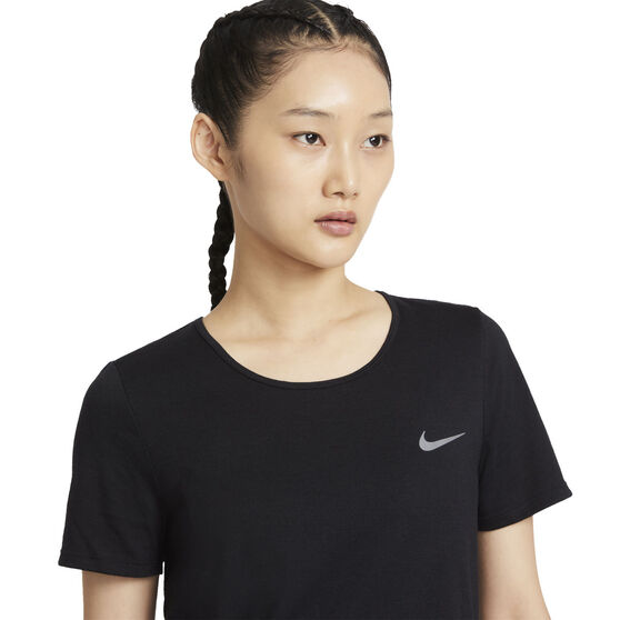 Nike Womens Dri-FIT Running Tee, Black, rebel_hi-res