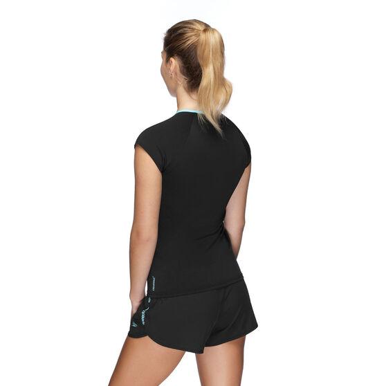 Speedo Womens Cap Sleeve Rash Vest, Black, rebel_hi-res