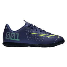 Nike Mercurial Vapor XIII Club Kids Indoor Soccer Shoes Blue / Silver US 1, Blue / Silver, rebel_hi-res