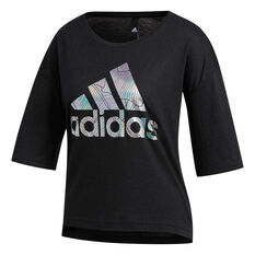adidas Womens Badge Of Sport Tee Black XS, Black, rebel_hi-res