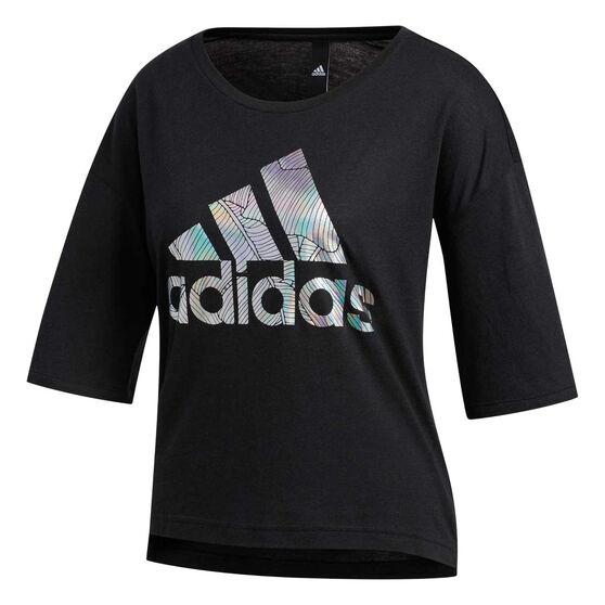 adidas Womens Badge Of Sport Tee, Black, rebel_hi-res