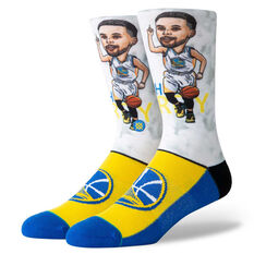 Stance Golden State Warriors Curry Big Head Socks Yellow / Blue M, Yellow / Blue, rebel_hi-res