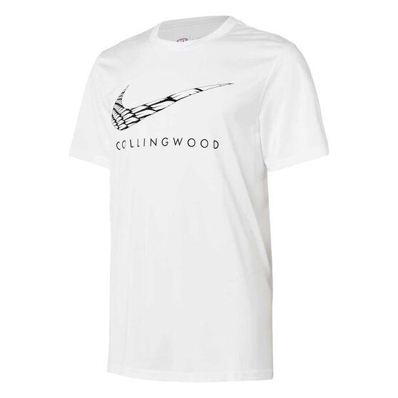 Collingwood Magpies 2021 Mens Warm Up Tee, White, rebel_hi-res
