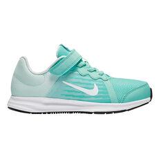 Nike Downshifter 8 Junior Girls Running Shoes Green / White US 11, Green / White, rebel_hi-res