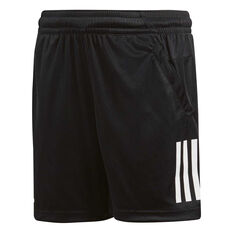 adidas Boys Club 3 Stripe Tennis Shorts Black / White 8, Black / White, rebel_hi-res