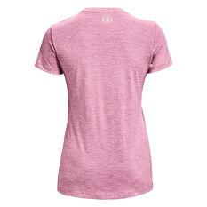 Under Armour Womens UA Tech Twist V-Neck Tee Pink XS, Pink, rebel_hi-res
