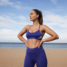 adidas Womens All Me Padded Sports Bra Purple XS, Purple, rebel_hi-res