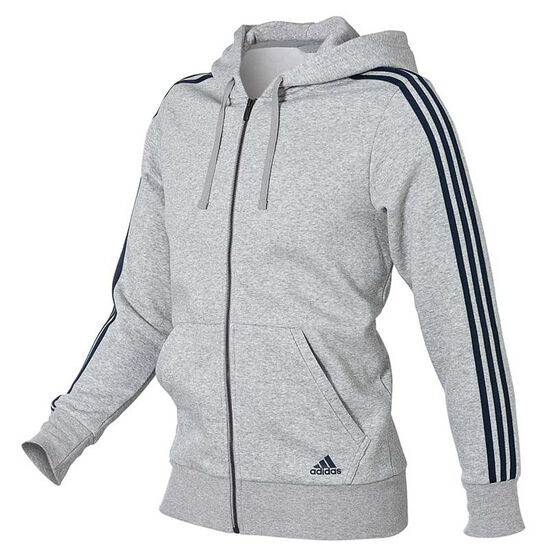 4232964de adidas Mens Essentials 3 Stripes Full Zip Hoodie Grey / Navy S adult, Grey /