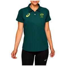 Asics Womens Australian Olympic Media Polo, Green, rebel_hi-res