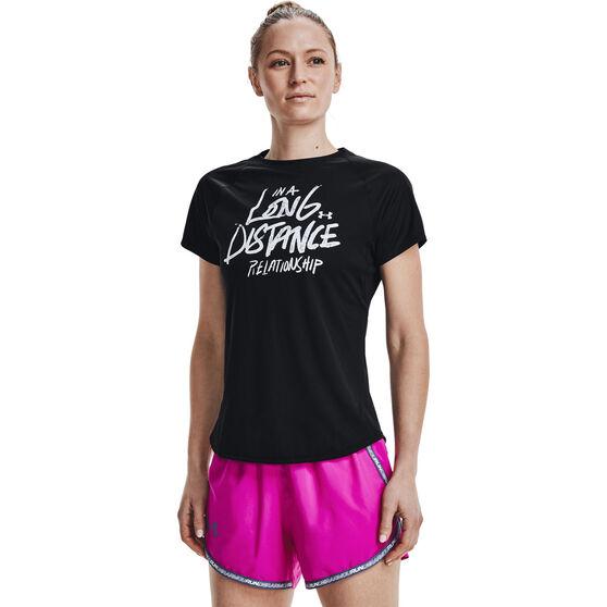 Under Armour Womens UA Speed Stride Graphic Tee, Black, rebel_hi-res