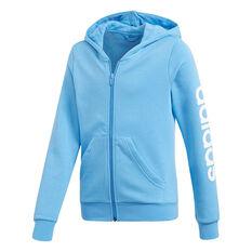 adidas Girls Essentials Linear Full Zip Hoodie Blue / White 6, Blue / White, rebel_hi-res