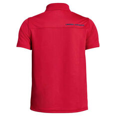 Under Armour Boys Performance Golf Polo Red / Blue XS, Red / Blue, rebel_hi-res