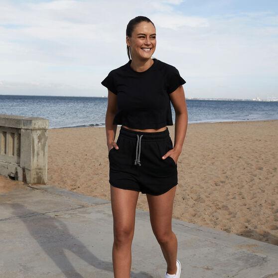 adidas Womens Recycled Cotton Crop Tee, Black, rebel_hi-res