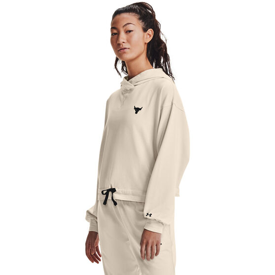 Under Armour Womens Project Rock Terry Hoodie, White, rebel_hi-res