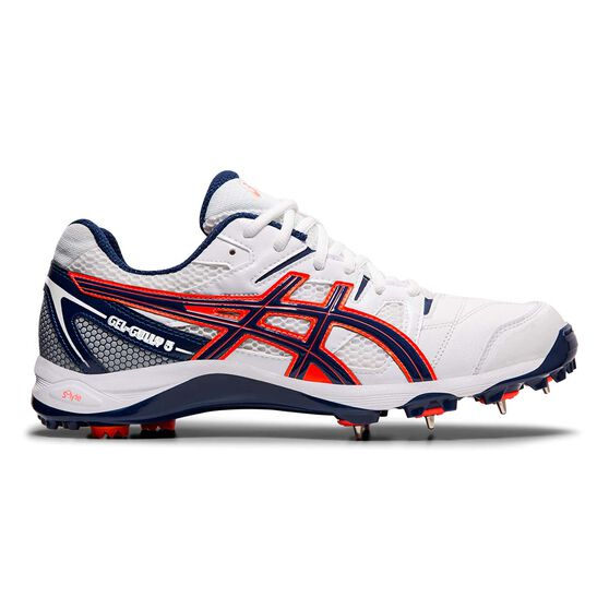 Asics GEL Gully 5 Cricket Shoes, White / Navy, rebel_hi-res