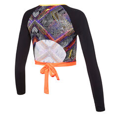 Speedo Girls Chroma Zag Cropped Long Sleeve Rash Vest Orange 8, Orange, rebel_hi-res