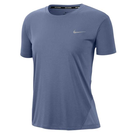 Nike Womens Miler Running Tee, Blue, rebel_hi-res