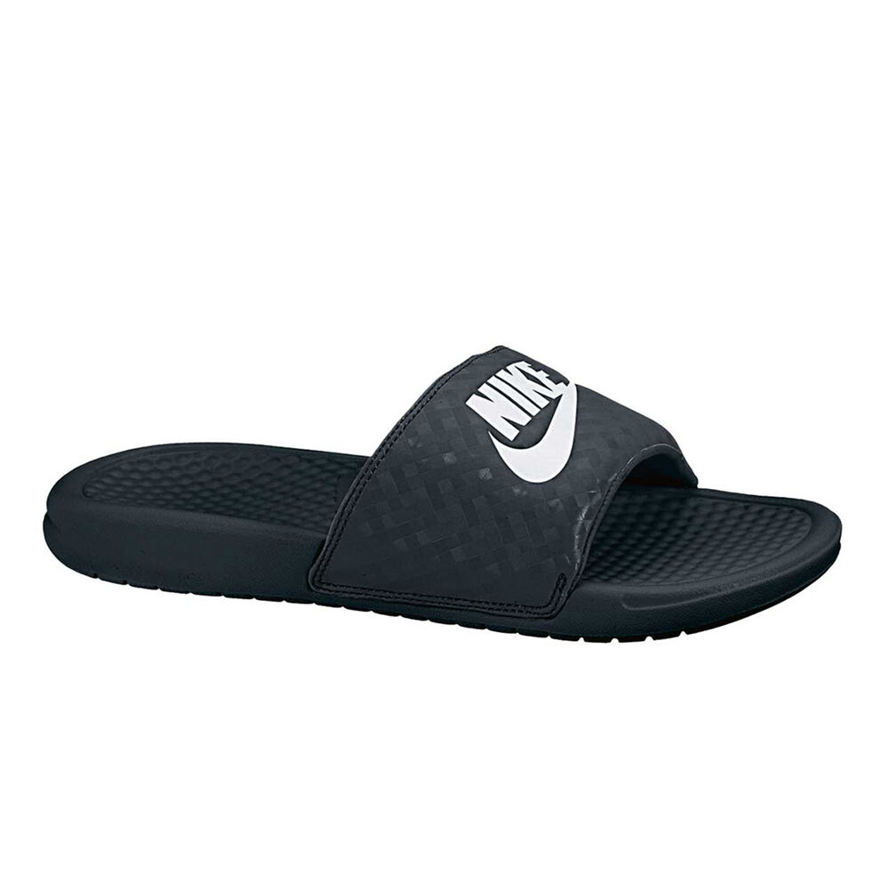 2666743bd9df Nike Benassi Just Do It Womens Slides Black   White US 7
