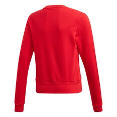 adidas Girls Bold Crew Sweatshirt Red/White 6, Red/White, rebel_hi-res