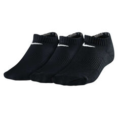 Nike Cotton Cushion 3 Pack Youth No Show Socks Black XS, Black, rebel_hi-res