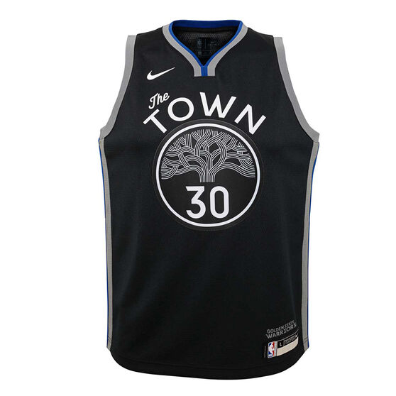 Nike Golden State Warriors Steph Curry 2019/20 Youth City Edition Jersey, Black, rebel_hi-res