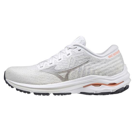 Mizuno Wave Inspire 17 Waveknit Womens Running Shoes, White/Peach, rebel_hi-res