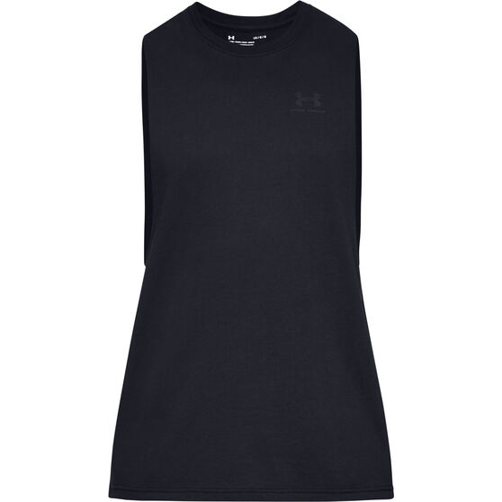 Under Armour Mens Sportstyle Left Chest Cut-Off T-Shirt, Black, rebel_hi-res