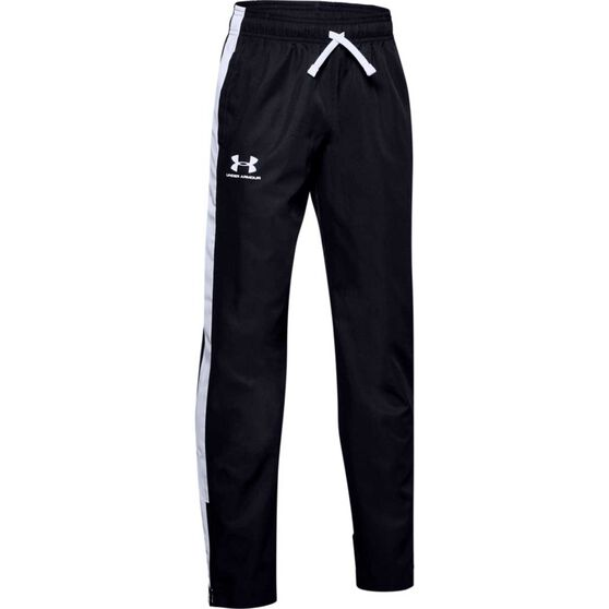 Under Armour Boys Woven Track Pants, Black / White, rebel_hi-res