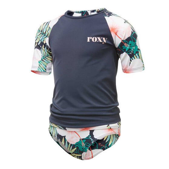 Roxy Toddler Girls Peachy Vibes Rash Vest Set, Blue, rebel_hi-res