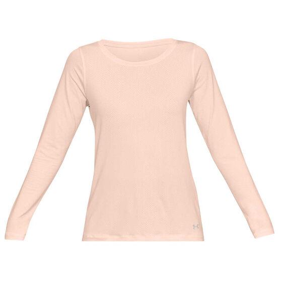 Under Armour Womens HeatGear Armour Long Sleeve Tee, Orange, rebel_hi-res