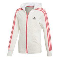 adidas Girls 3 Stripes Hoodie White / Pink 8, White / Pink, rebel_hi-res