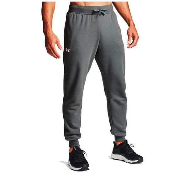 Under Armour Mens Volume Fleece Rival Cotton Track Pants, Grey, rebel_hi-res