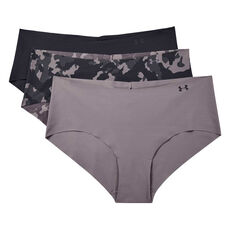 Under Armour Women Pure Stretch Hipster Briefs 3 Pack Purple XS, Purple, rebel_hi-res