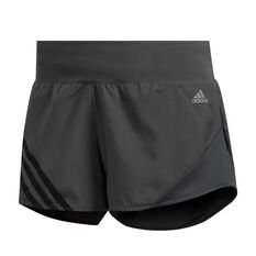 adidas Womens Run It 3-Stripes 4in Shorts Grey XS, Grey, rebel_hi-res