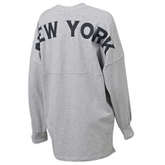Majestic Womens NY Oversized Tee Grey XS, Grey, rebel_hi-res