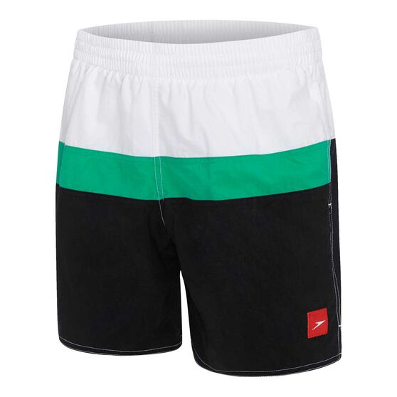Speedo Mens Split Logo Watershorts, Black / Green, rebel_hi-res