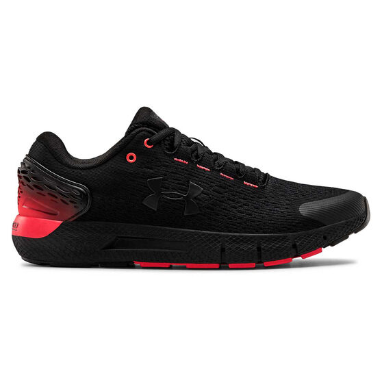 Under Armour Charged Rogue 2 Mens Running Shoes, Black / Red, rebel_hi-res