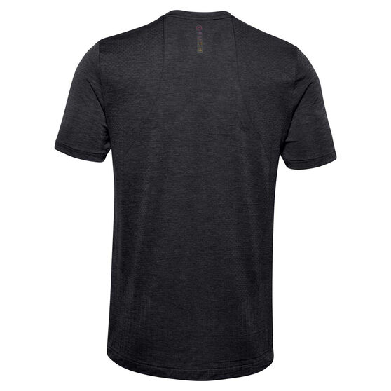Under Armour Mens Rush Seamless Fitted Tee, Black, rebel_hi-res