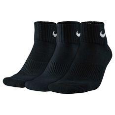 Nike Cotton Quarter 3 Pack Socks Black M, Black, rebel_hi-res