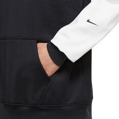 Nike Womens Therma-FIT Fleece Colour-Block Hoodie, Black, rebel_hi-res