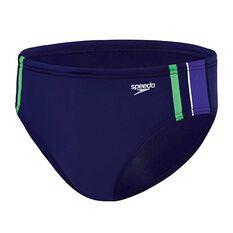 Speedo Mens Macca Swim Briefs Blue / Green 14, Blue / Green, rebel_hi-res