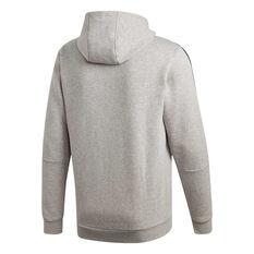adidas Mens Essentials 3-Stripes Fleece Hoodie Grey XS, Grey, rebel_hi-res