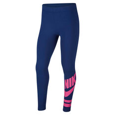 Nike Girls Sportswear Leggings Blue XS, Blue, rebel_hi-res
