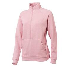 Ell & Voo Avery Fleece Half Zip Sweatshirt Pink XS, Pink, rebel_hi-res
