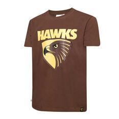 Hawthorn Hawks Mens Supporter Logo Tee Brown S, Brown, rebel_hi-res