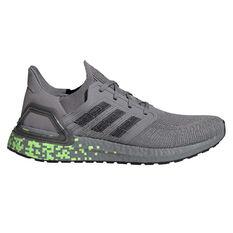 adidas Ultraboost 20 Mens Running Shoes Grey/Green US 7, , rebel_hi-res